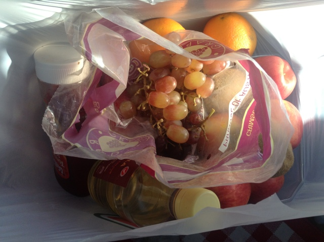 A bag of fruit from departing campers